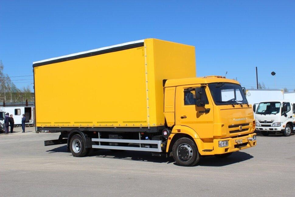 Бортовой КамАЗ 4308 евроборт, 2017, желтый фото 0