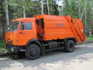Мусоровоз КамАЗ 43253, 2016, оранжевый бу фото