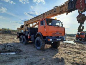 Автокран КамАЗ 43118 Галичанин 25т, 2011, оранжевый бу фото